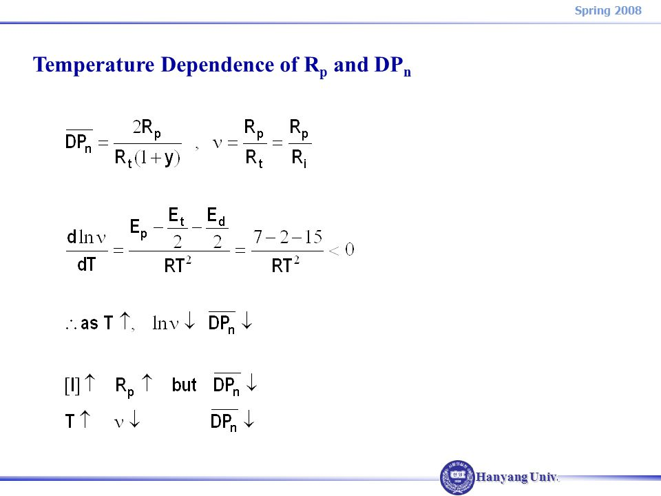 Hanyang Univ. Spring 2008 Temperature Dependence of R p and DP n