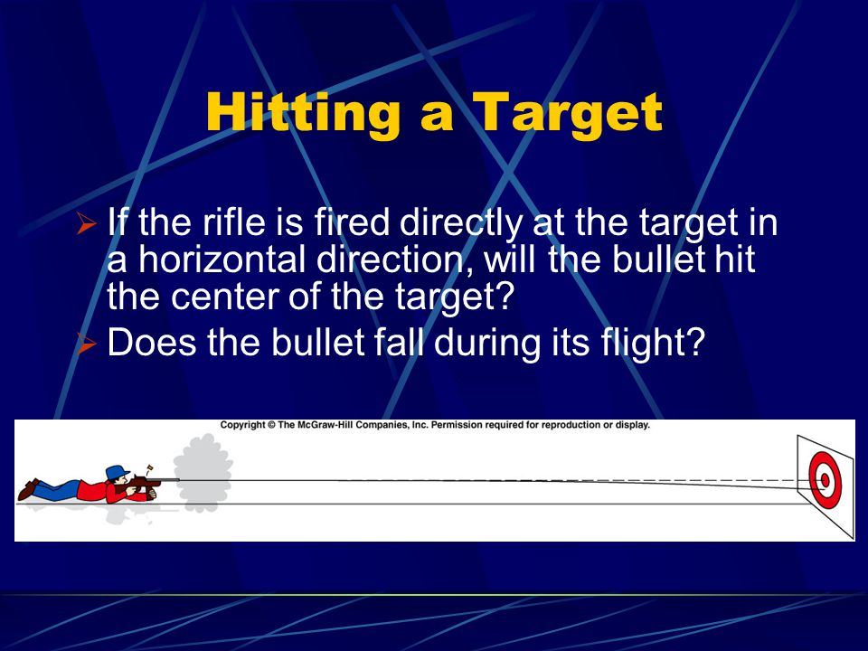 Hitting a Target  If the rifle is fired directly at the target in a horizontal direction, will the bullet hit the center of the target?  Does the bu