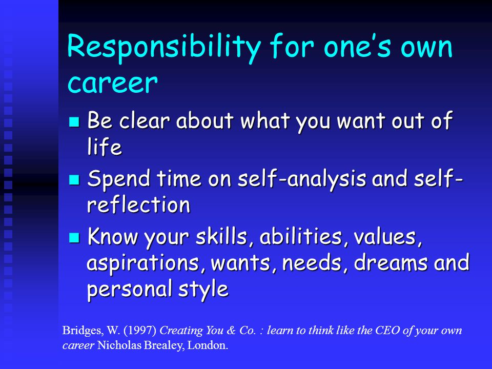 Responsibility for one's own career – cont'd Career management competencies: Career management competencies:  Ability to optimise a given career situation  Ability to engage in personal development  Ability to use career planning skills  Ability to balance work and non- work Ball, B.