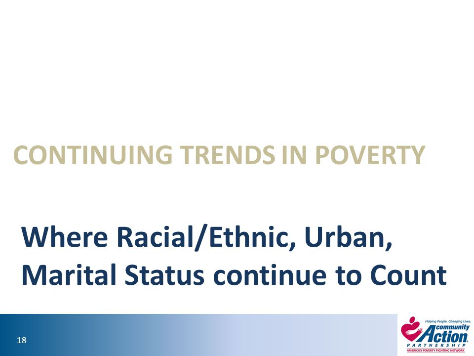 18 CONTINUING TRENDS IN POVERTY Where Racial/Ethnic, Urban, Marital Status continue to Count