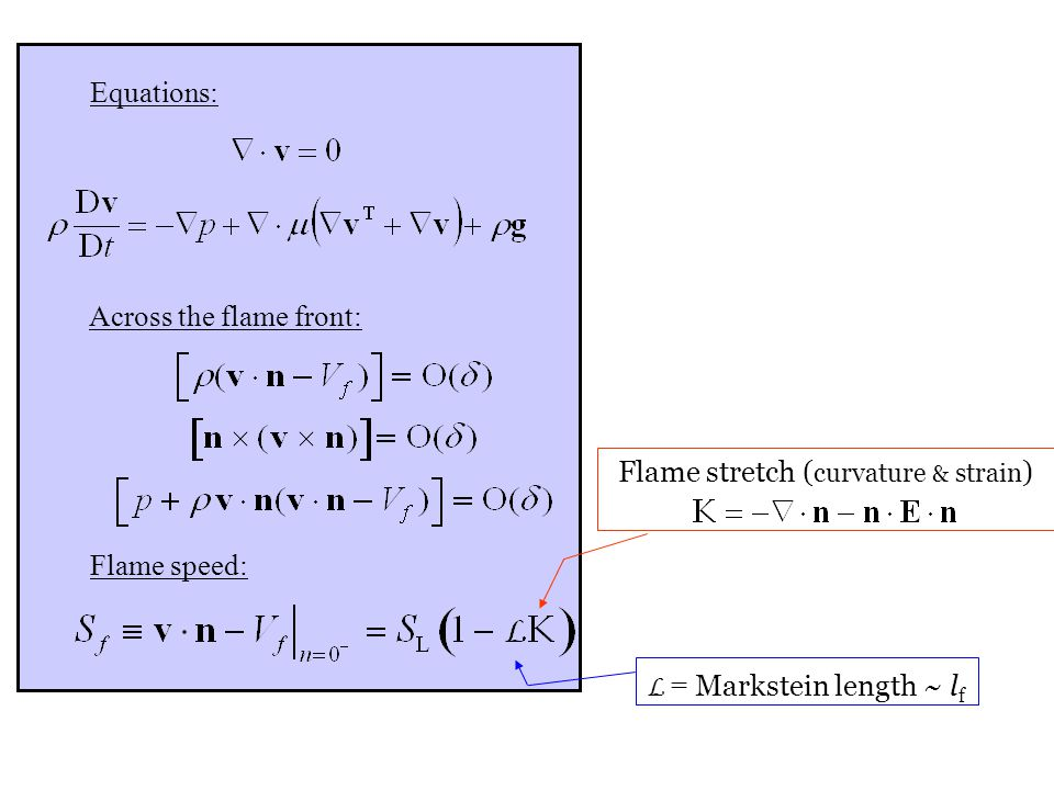 Department of Mechanical Science and Engineering University of Illinois at Urbana-Champaign Across the flame front: Flame speed: Equations: L = Markstein length ~ l f Flame stretch ( curvature & strain )
