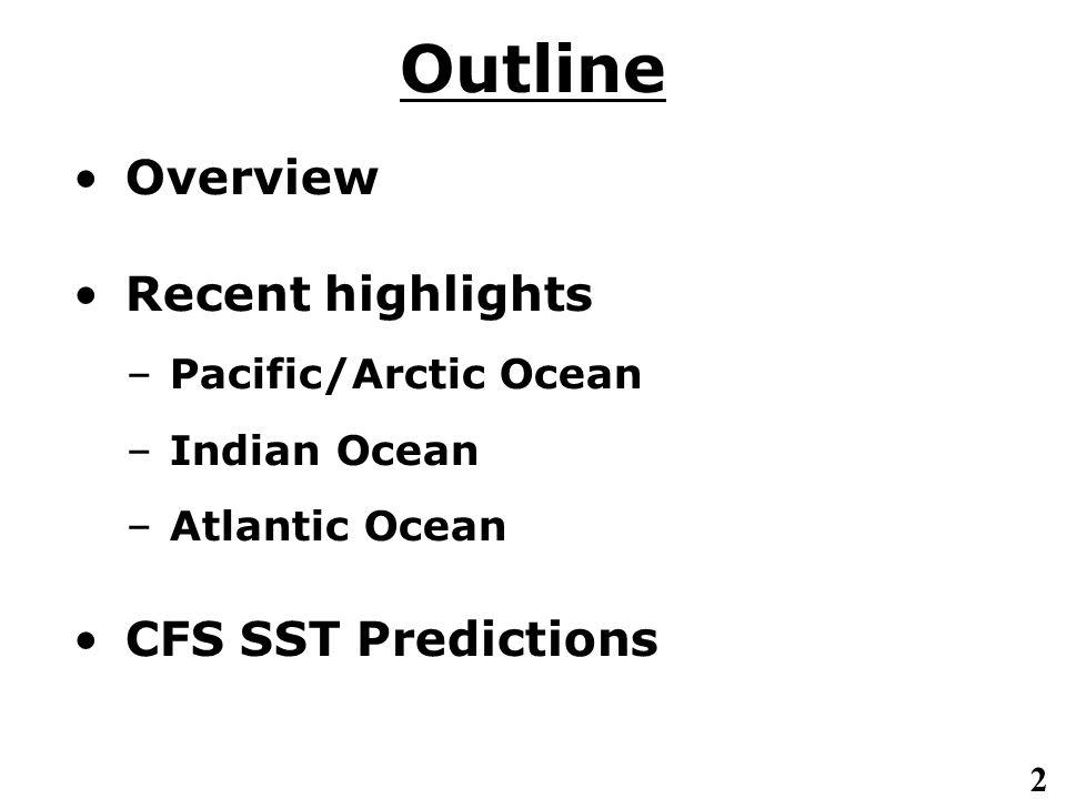2 Outline Overview Recent highlights – Pacific/Arctic Ocean – Indian Ocean – Atlantic Ocean CFS SST Predictions