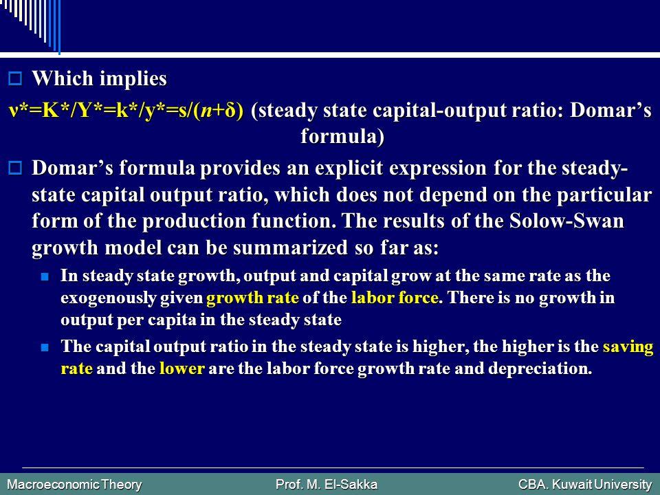 Macroeconomic Theory Prof. M. El-Sakka CBA. Kuwait University  Which implies ν*=K*/Y*=k*/y*=s/(n+δ) (steady state capital-output ratio: Domar's formu