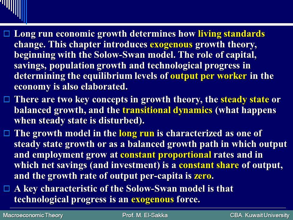 Macroeconomic Theory Prof. M. El-Sakka CBA. Kuwait University  Long run economic growth determines how living standards change. This chapter introduc