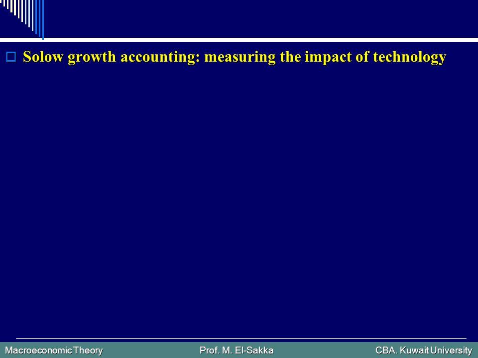 Macroeconomic Theory Prof. M. El-Sakka CBA. Kuwait University  Solow growth accounting: measuring the impact of technology