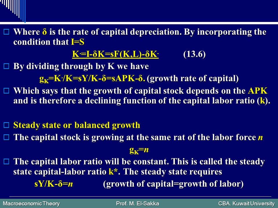 Macroeconomic Theory Prof. M. El-Sakka CBA. Kuwait University  Where δ is the rate of capital depreciation. By incorporating the condition that I=S K