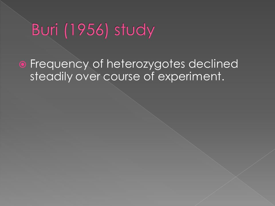  Frequency of heterozygotes declined steadily over course of experiment.