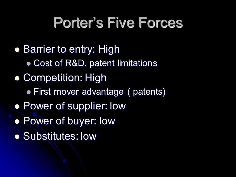 Porter's Five Forces Barrier to entry: High Barrier to entry: High Cost of R&D, patent limitations Cost of R&D, patent limitations Competition: High Competition: High First mover advantage ( patents) First mover advantage ( patents) Power of supplier: low Power of supplier: low Power of buyer: low Power of buyer: low Substitutes: low Substitutes: low