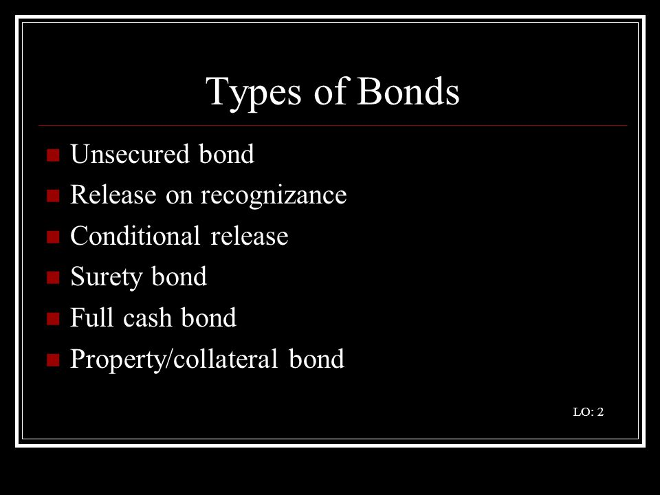 Types of Bonds Unsecured bond Release on recognizance Conditional release Surety bond Full cash bond Property/collateral bond LO: 2
