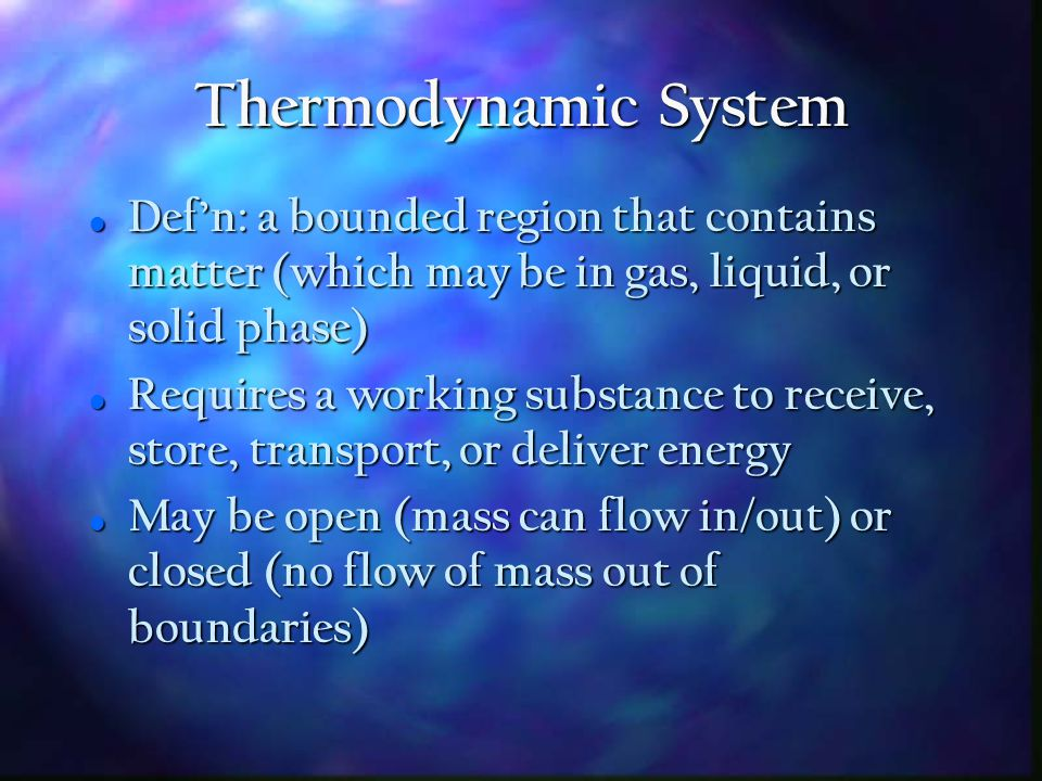 First Law of Thermodynamics General Energy Equation General Energy Equation Energy In = Energy Out, OR Energy In = Energy Out, OR U 2 - U 1 = Q - W (or u 2 - u 1 = q - w) U 2 - U 1 = Q - W (or u 2 - u 1 = q - w) Where: Where: U 1 = internal energy of system @ start U 1 = internal energy of system @ start U 2 = internal energy of system @ end U 2 = internal energy of system @ end Q = net thermal energy flowing into system during process Q = net thermal energy flowing into system during process W = net work done by the system W = net work done by the system