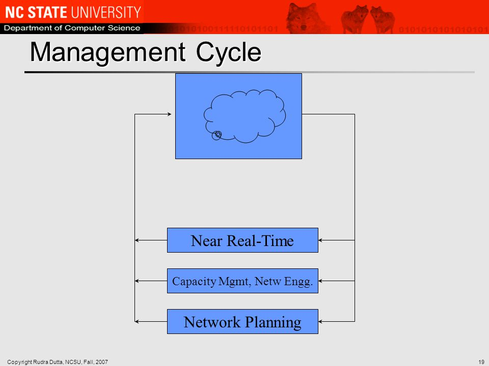 Copyright Rudra Dutta, NCSU, Fall, 200719 Management Cycle Near Real-Time Capacity Mgmt, Netw Engg.