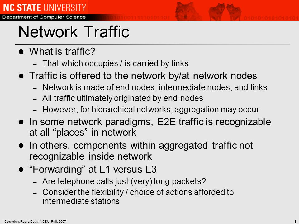 Copyright Rudra Dutta, NCSU, Fall, 20073 Network Traffic What is traffic.