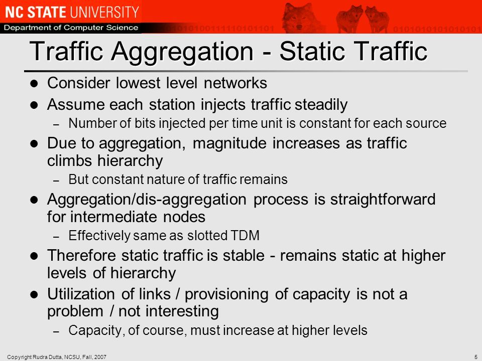 Copyright Rudra Dutta, NCSU, Fall, 20075 Traffic Aggregation - Static Traffic Consider lowest level networks Assume each station injects traffic steadily – Number of bits injected per time unit is constant for each source Due to aggregation, magnitude increases as traffic climbs hierarchy – But constant nature of traffic remains Aggregation/dis-aggregation process is straightforward for intermediate nodes – Effectively same as slotted TDM Therefore static traffic is stable - remains static at higher levels of hierarchy Utilization of links / provisioning of capacity is not a problem / not interesting – Capacity, of course, must increase at higher levels