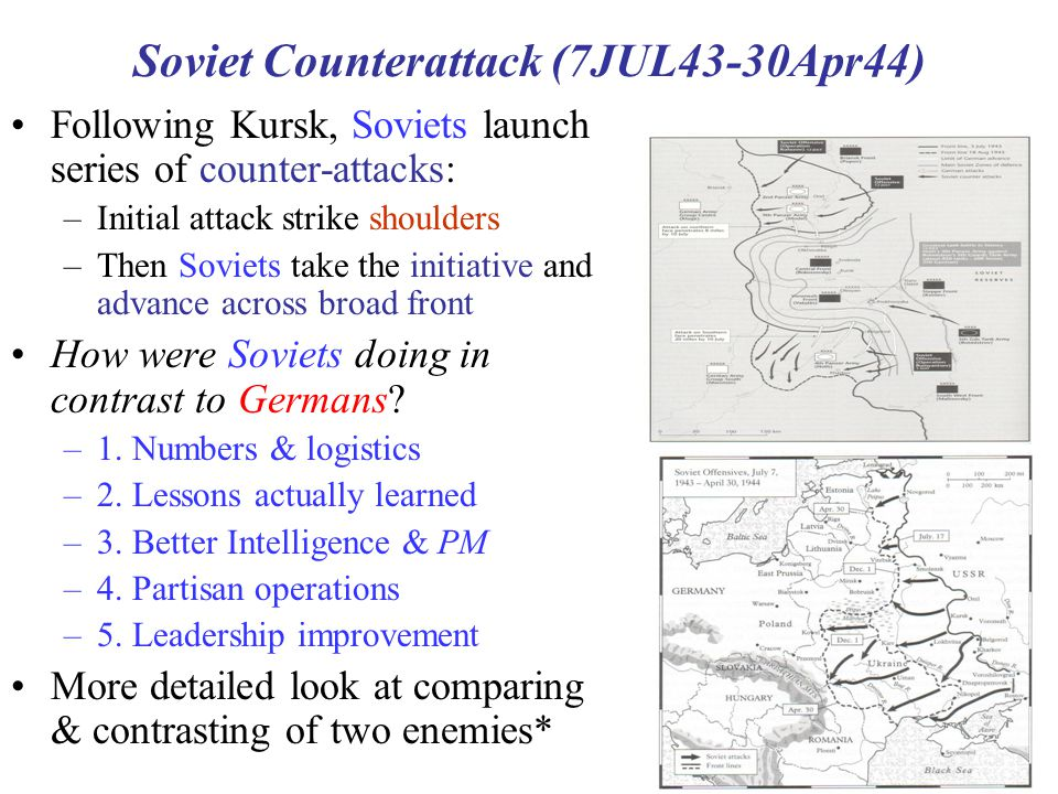 15 Soviet Counterattack (7JUL43-30Apr44) Following Kursk, Soviets launch series of counter-attacks: –Initial attack strike shoulders –Then Soviets tak