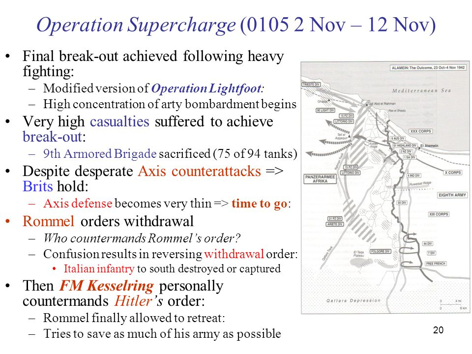 20 Operation Supercharge (0105 2 Nov – 12 Nov) Final break-out achieved following heavy fighting: –Modified version of Operation Lightfoot: –High concentration of arty bombardment begins Very high casualties suffered to achieve break-out: –9th Armored Brigade sacrificed (75 of 94 tanks) Despite desperate Axis counterattacks => Brits hold: –Axis defense becomes very thin => time to go: Rommel orders withdrawal –Who countermands Rommel's order.