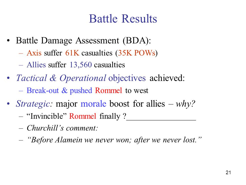 21 Battle Results Battle Damage Assessment (BDA): –Axis suffer 61K casualties (35K POWs) –Allies suffer 13,560 casualties Tactical & Operational objectives achieved: –Break-out & pushed Rommel to west Strategic: major morale boost for allies – why.