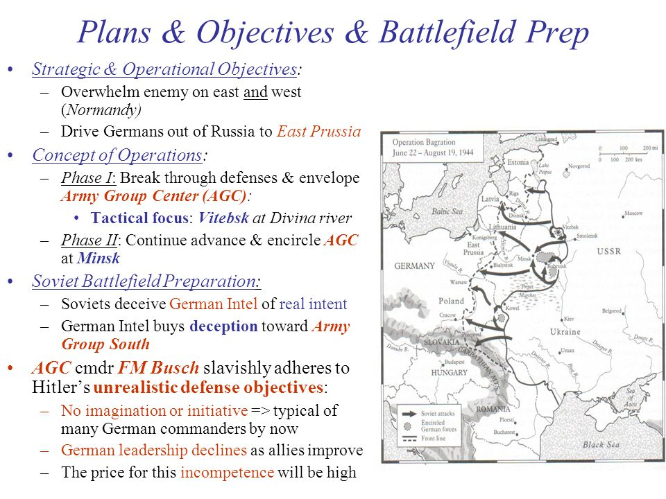 29 Plans & Objectives & Battlefield Prep Strategic & Operational Objectives: –Overwhelm enemy on east and west (Normandy) –Drive Germans out of Russia to East Prussia Concept of Operations: –Phase I: Break through defenses & envelope Army Group Center (AGC): Tactical focus: Vitebsk at Divina river –Phase II: Continue advance & encircle AGC at Minsk Soviet Battlefield Preparation: –Soviets deceive German Intel of real intent –German Intel buys deception toward Army Group South AGC cmdr FM Busch slavishly adheres to Hitler's unrealistic defense objectives: –No imagination or initiative => typical of many German commanders by now –German leadership declines as allies improve –The price for this incompetence will be high