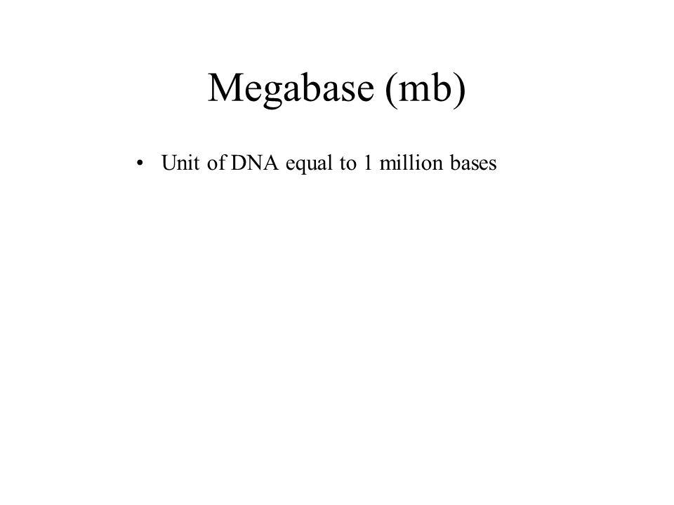 Megabase (mb) Unit of DNA equal to 1 million bases