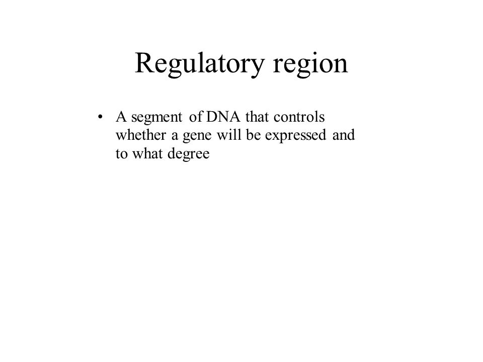 Regulatory region A segment of DNA that controls whether a gene will be expressed and to what degree