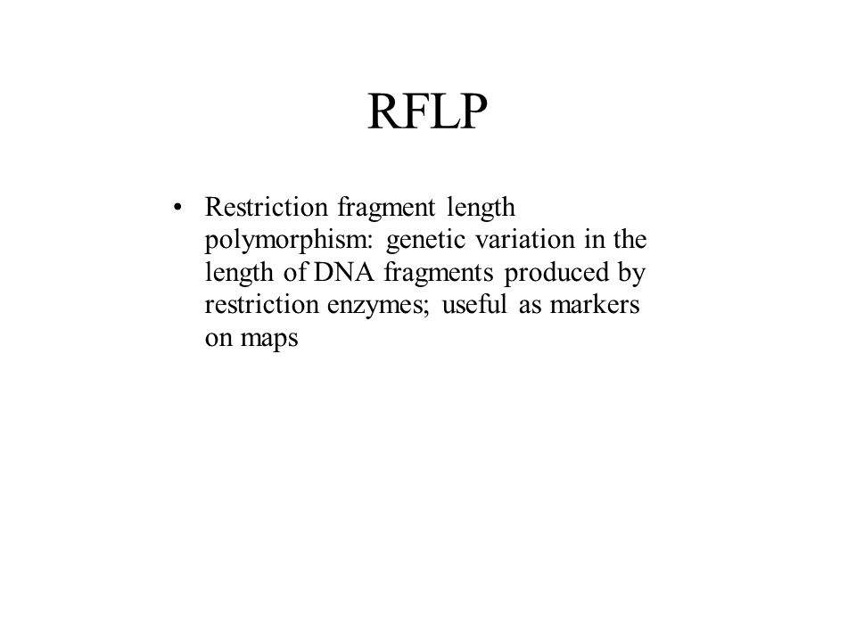 RFLP Restriction fragment length polymorphism: genetic variation in the length of DNA fragments produced by restriction enzymes; useful as markers on maps