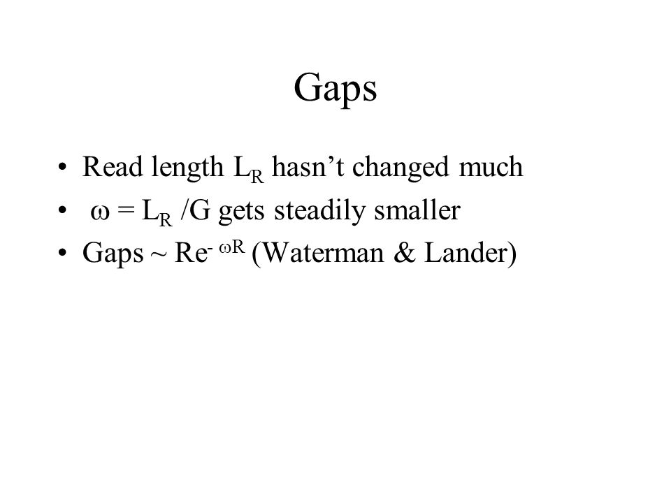 Gaps Read length L R hasn't changed much  = L R /G gets steadily smaller Gaps ~ Re -  R (Waterman & Lander)