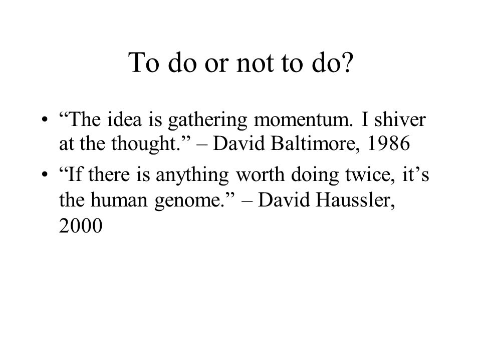 To do or not to do. The idea is gathering momentum.