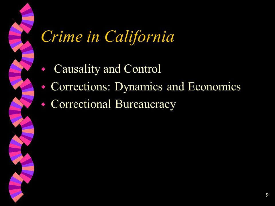 California Department of Corrections 1996 Prisoners 145,565 Parolees 100,935 Felon New Admits 46,487 Releases to Parole 111,532 Discharged and Died 27,691 57,984 Parole Violators Returned to Custody Parole Violators With a New Term 17,525 Parolees At Large 18,034 Discharged and Died 3,984 Absconded 29,376