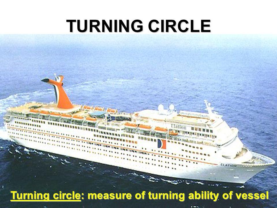 TURNING CIRCLE Turning circle: measure of turning ability of vessel