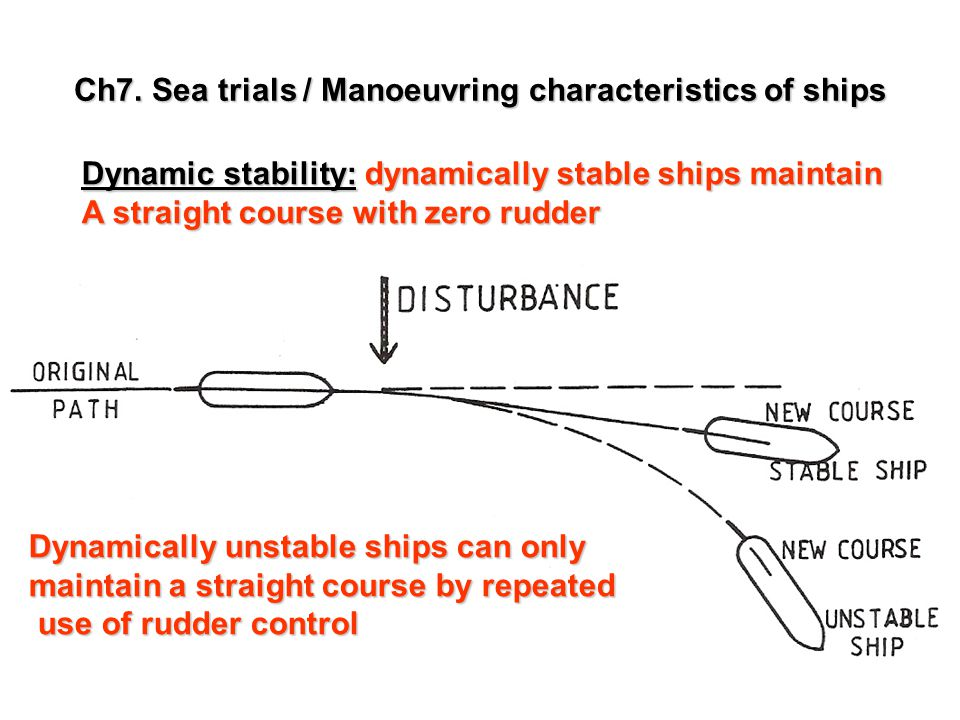 Ch7. Sea trials / Manoeuvring characteristics of ships Dynamic stability: dynamically stable ships maintain A straight course with zero rudder Dynamic