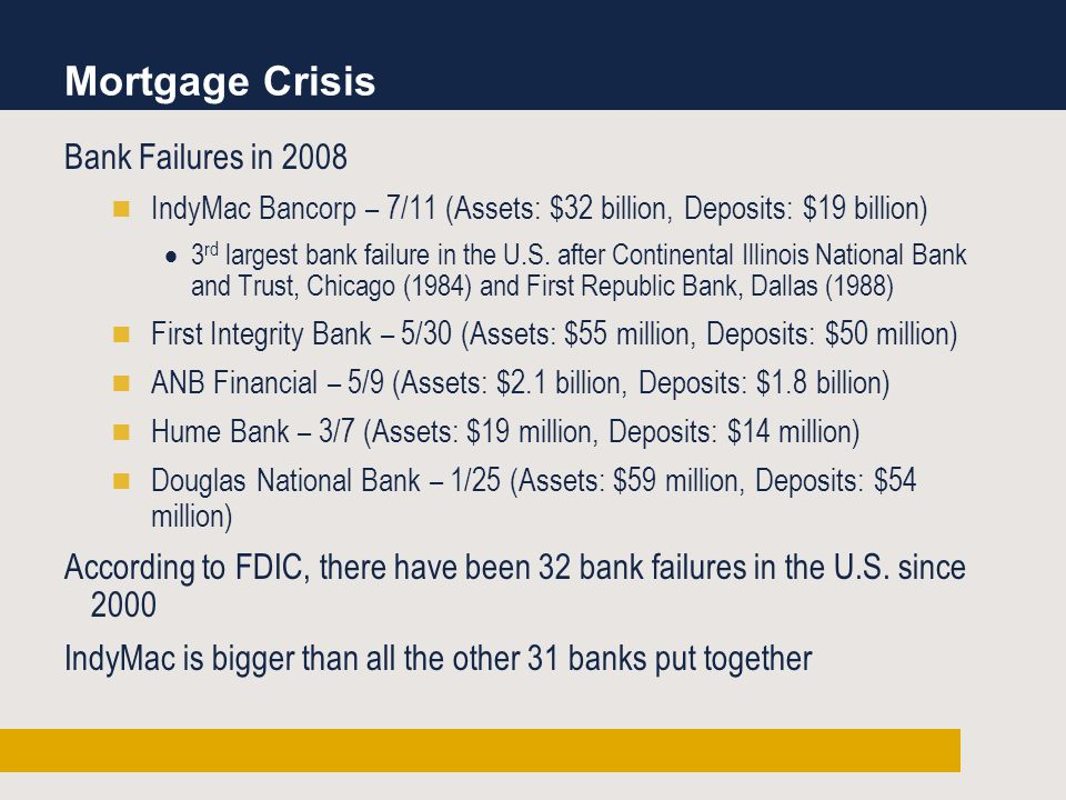 Bank Failures in 2008 IndyMac Bancorp – 7/11 (Assets: $32 billion, Deposits: $19 billion)  3 rd largest bank failure in the U.S.