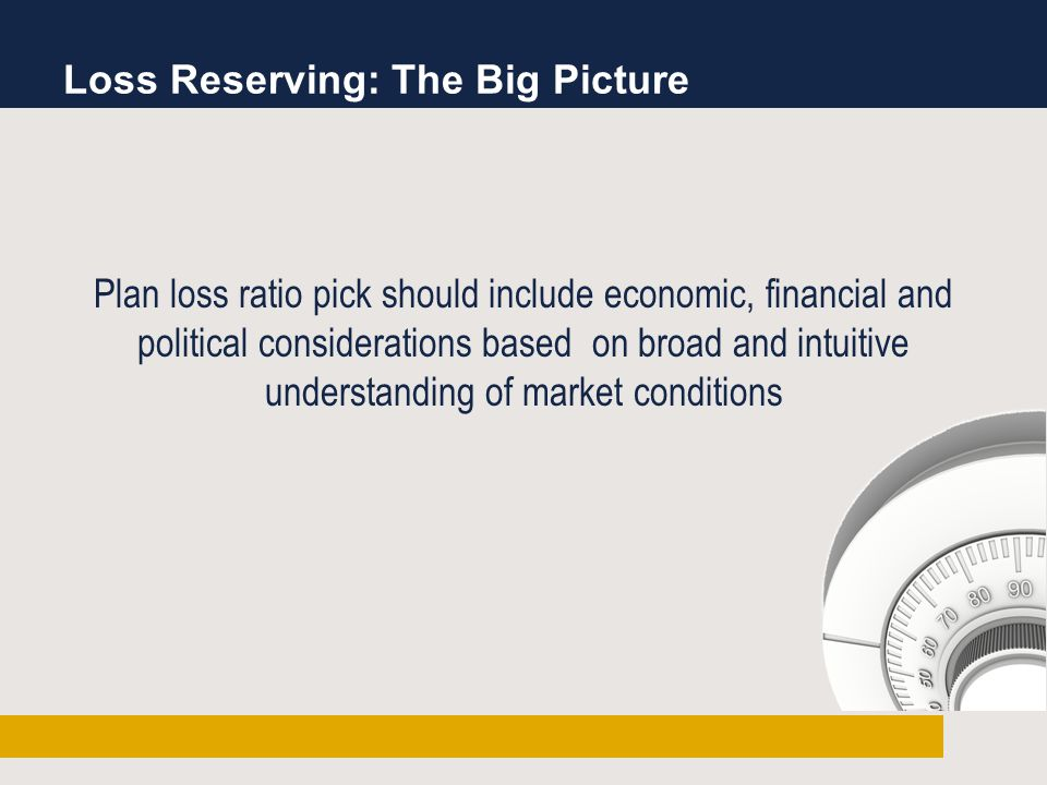 Loss Reserving: The Big Picture Plan loss ratio pick should include economic, financial and political considerations based on broad and intuitive understanding of market conditions