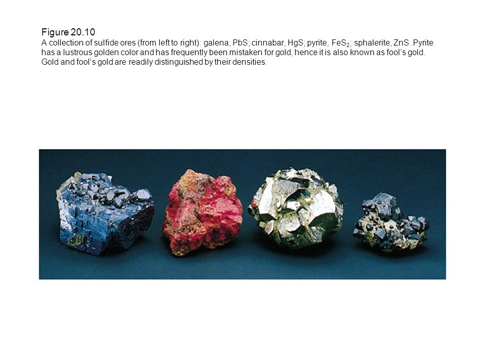 Figure 20.10 A collection of sulfide ores (from left to right): galena, PbS; cinnabar, HgS; pyrite, FeS 2 ; sphalerite, ZnS.