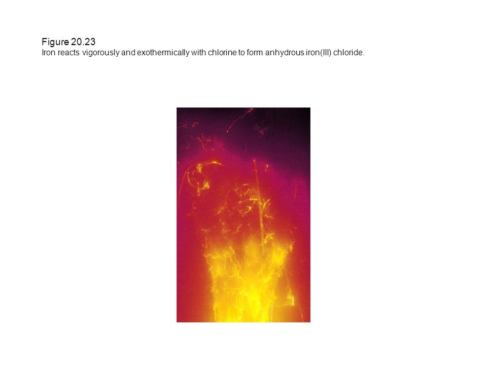 Figure 20.23 Iron reacts vigorously and exothermically with chlorine to form anhydrous iron(III) chloride.