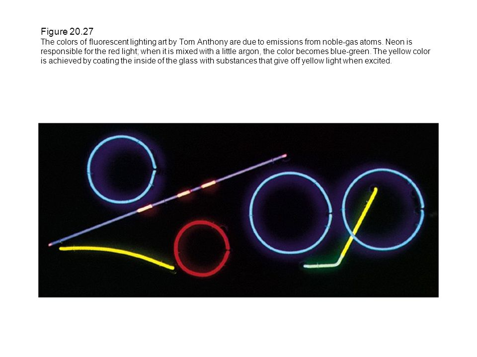 Figure 20.27 The colors of fluorescent lighting art by Tom Anthony are due to emissions from noble-gas atoms.