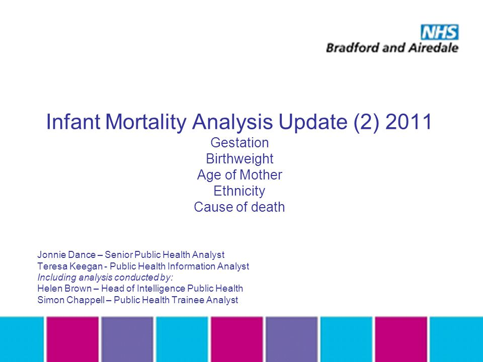Infant Mortality Analysis Update (2) 2011 Gestation Birthweight Age of Mother Ethnicity Cause of death Jonnie Dance – Senior Public Health Analyst Teresa Keegan - Public Health Information Analyst Including analysis conducted by: Helen Brown – Head of Intelligence Public Health Simon Chappell – Public Health Trainee Analyst