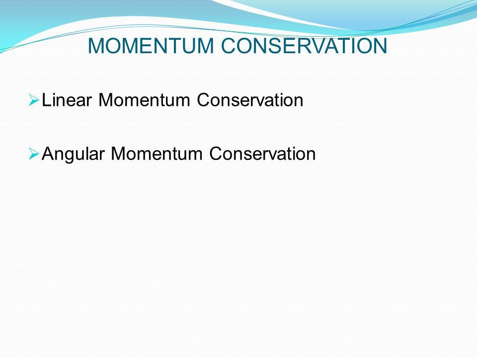 MOMENTUM CONSERVATION  Linear Momentum Conservation  Angular Momentum Conservation