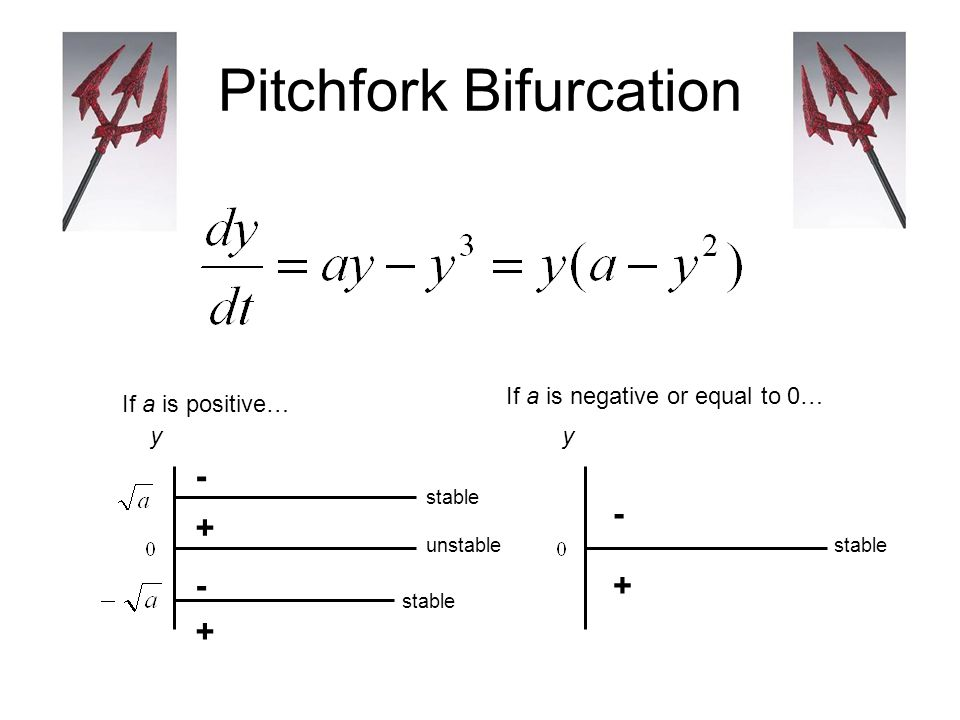 Pitchfork Bifurcation stable y + + - - If a is positive… If a is negative or equal to 0… y + - unstable stable