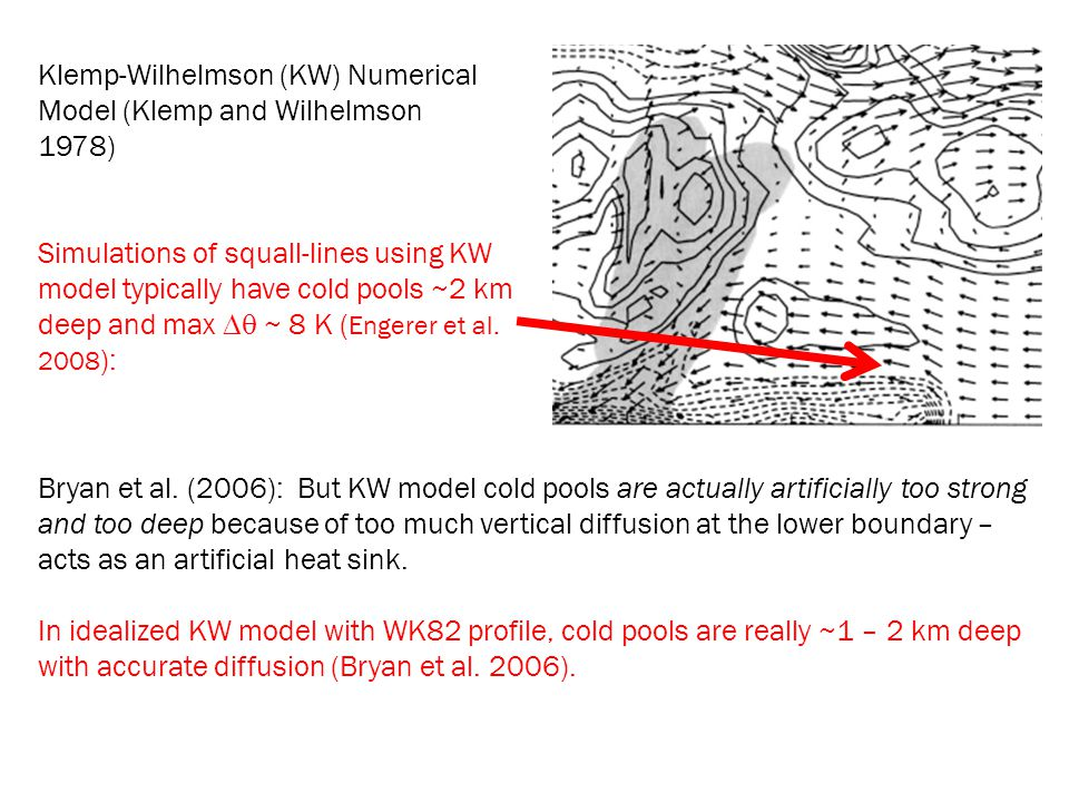 Klemp-Wilhelmson (KW) Numerical Model (Klemp and Wilhelmson 1978) Simulations of squall-lines using KW model typically have cold pools ~2 km deep and
