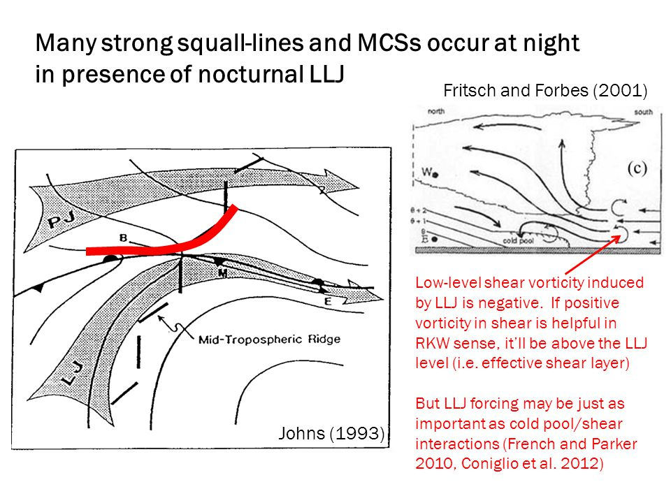 Many strong squall-lines and MCSs occur at night in presence of nocturnal LLJ Johns (1993) Fritsch and Forbes (2001) Low-level shear vorticity induced