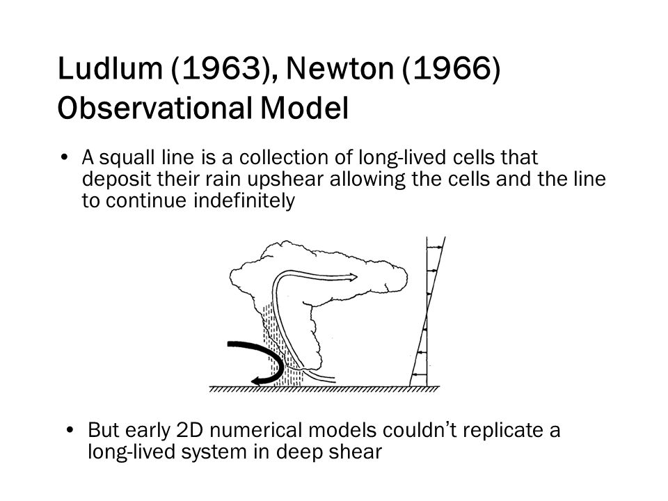 A squall line is a collection of long-lived cells that deposit their rain upshear allowing the cells and the line to continue indefinitely Ludlum (1963), Newton (1966) Observational Model But early 2D numerical models couldn't replicate a long-lived system in deep shear