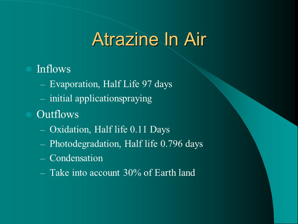 Atrazine In Water Inflows – Erosion, 55% – Condensation, F(x) of Air Outflows – Sedimentation, Half life 14 days – Aquatic Degradation, Half life 3.2 days – Ingestion