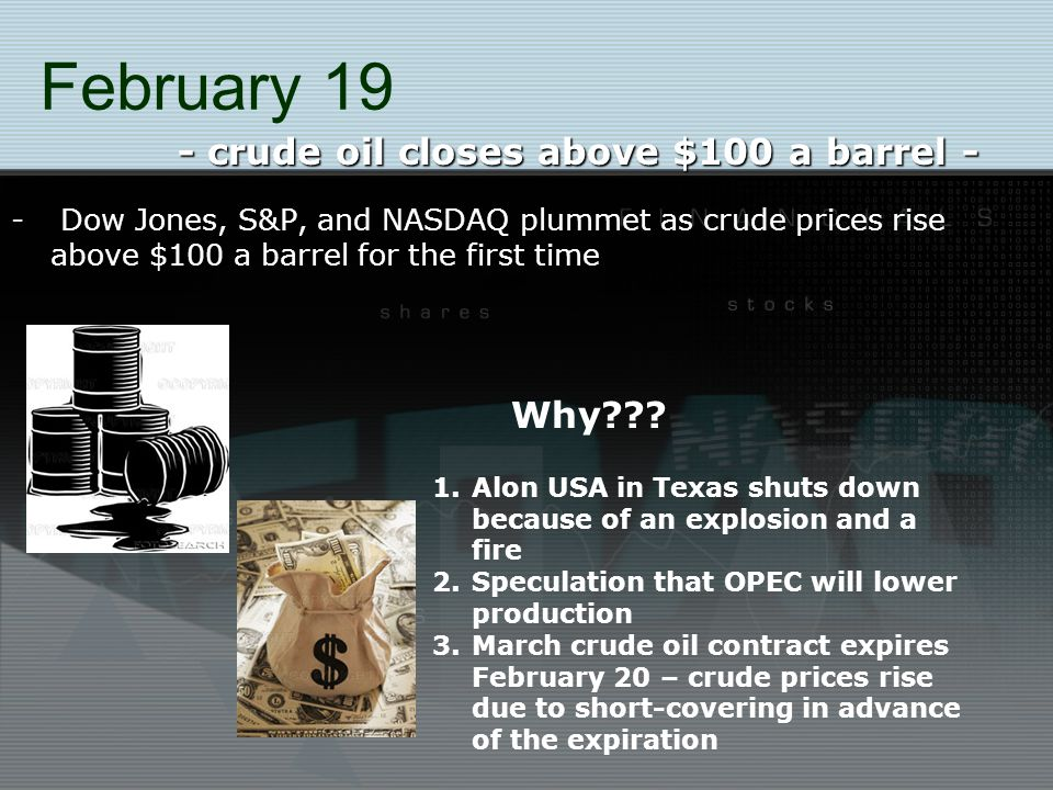 February 19 - Dow Jones, S&P, and NASDAQ plummet as crude prices rise above $100 a barrel for the first time - crude oil closes above $100 a barrel - Why??.