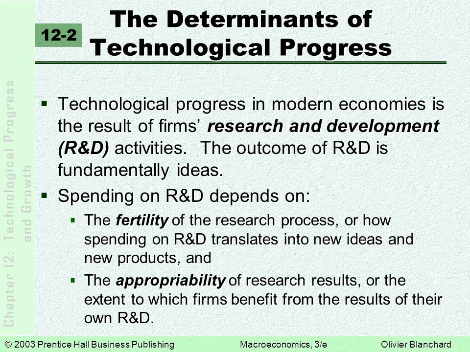 © 2003 Prentice Hall Business PublishingMacroeconomics, 3/e Olivier Blanchard The Determinants of Technological Progress  Technological progress in modern economies is the result of firms' research and development (R&D) activities.