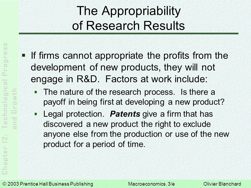 © 2003 Prentice Hall Business PublishingMacroeconomics, 3/e Olivier Blanchard The Appropriability of Research Results  If firms cannot appropriate the profits from the development of new products, they will not engage in R&D.