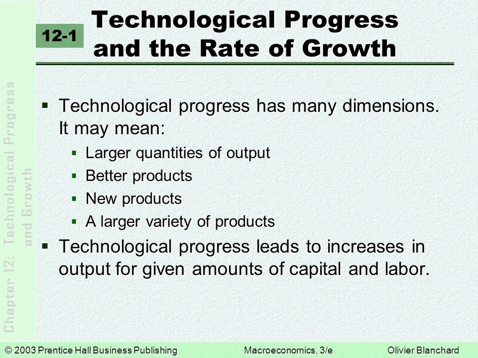 © 2003 Prentice Hall Business PublishingMacroeconomics, 3/e Olivier Blanchard Technological Progress and the Rate of Growth  Technological progress has many dimensions.