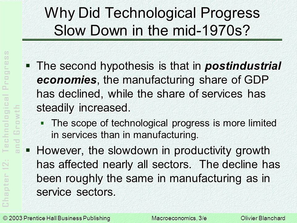 © 2003 Prentice Hall Business PublishingMacroeconomics, 3/e Olivier Blanchard Why Did Technological Progress Slow Down in the mid-1970s.