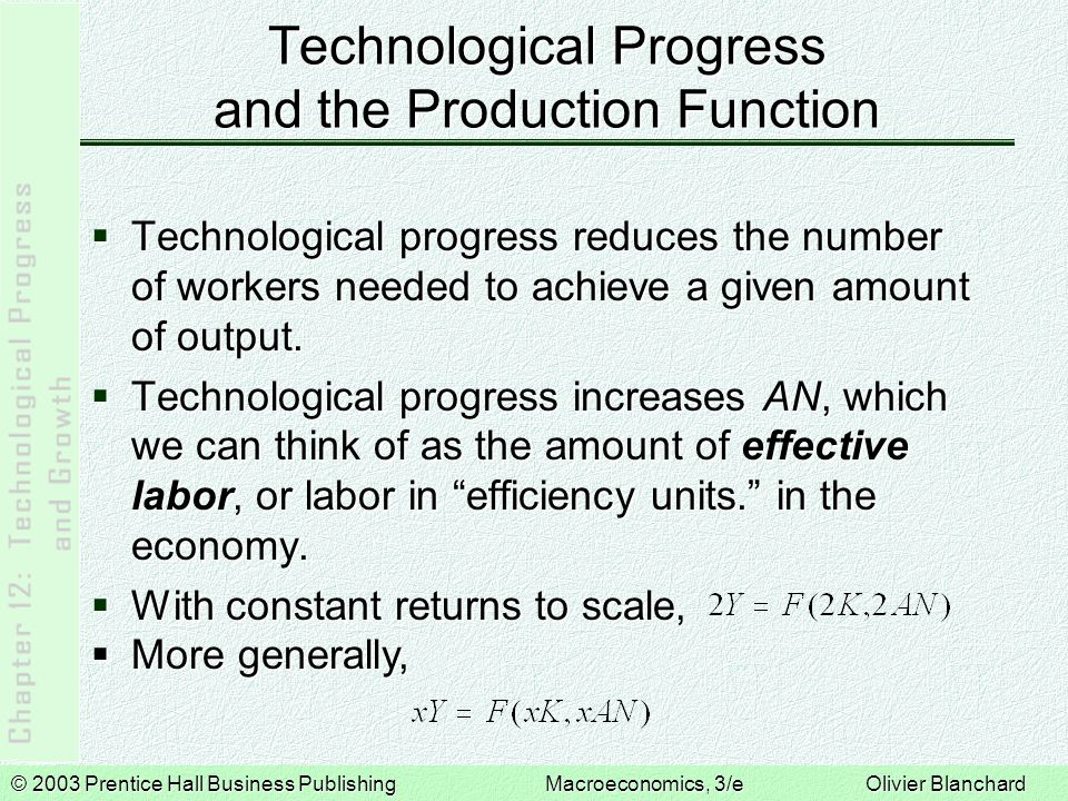 © 2003 Prentice Hall Business PublishingMacroeconomics, 3/e Olivier Blanchard Technological Progress and the Production Function  Technological progress reduces the number of workers needed to achieve a given amount of output.