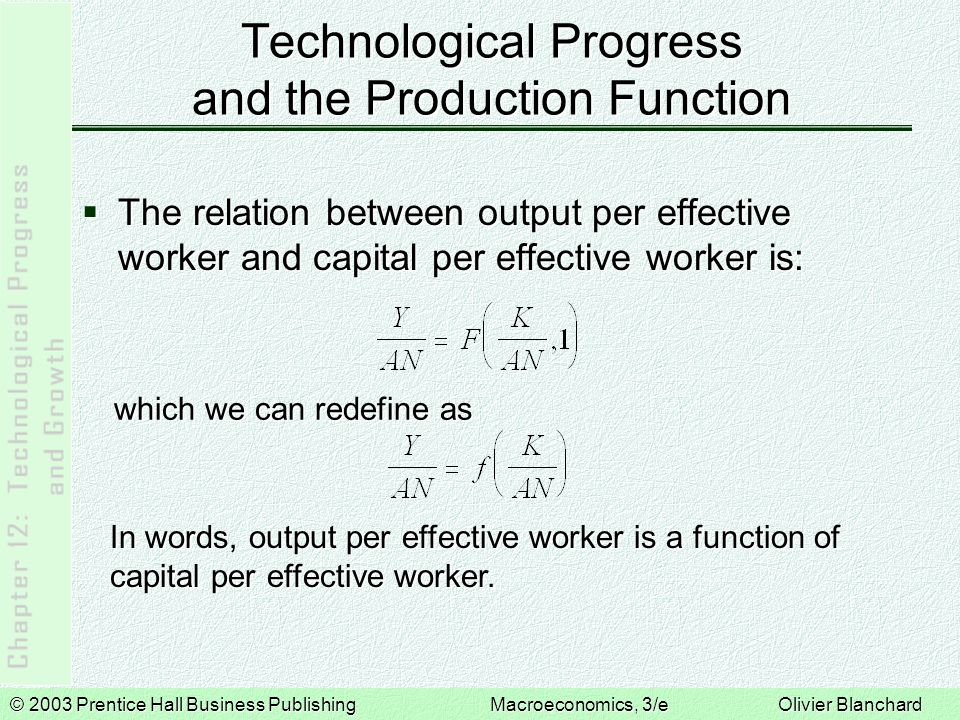 © 2003 Prentice Hall Business PublishingMacroeconomics, 3/e Olivier Blanchard Technological Progress and the Production Function  The relation between output per effective worker and capital per effective worker is: In words, output per effective worker is a function of capital per effective worker.
