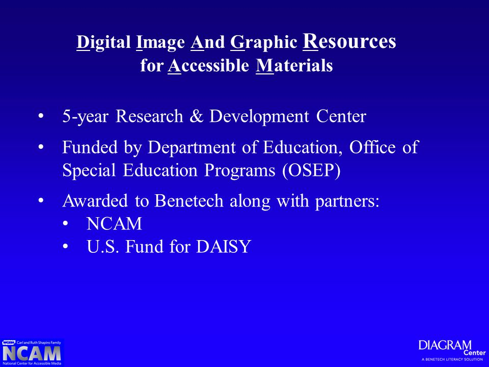 Digital Image And Graphic Resources for Accessible Materials 5-year Research & Development Center Funded by Department of Education, Office of Special