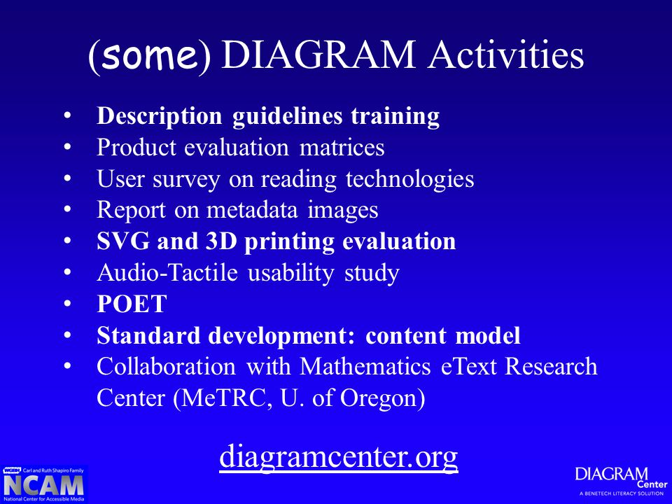 ( some ) DIAGRAM Activities Description guidelines training Product evaluation matrices User survey on reading technologies Report on metadata images